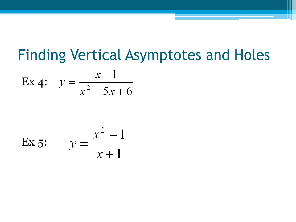 Finding Vertical Asymptotes and Holes Ex 4: Ex 5: