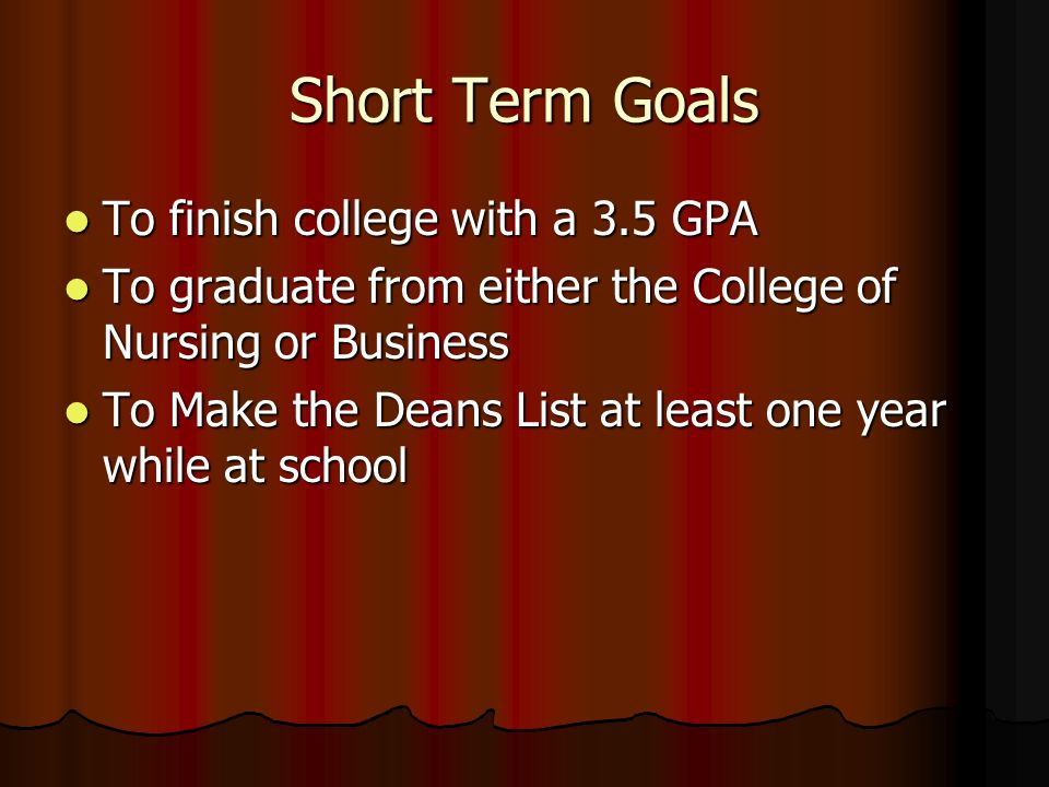 what are some short term goals for school
