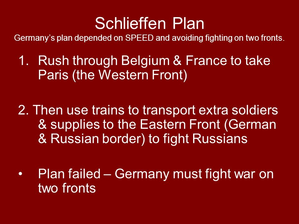 Schlieffen Plan Germany's plan depended on SPEED and avoiding fighting on two fronts.