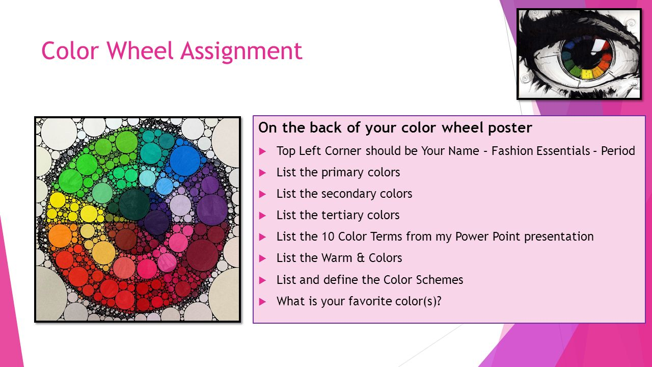 Color Wheel Assignment On The Back Of Your Color Wheel Poster Top