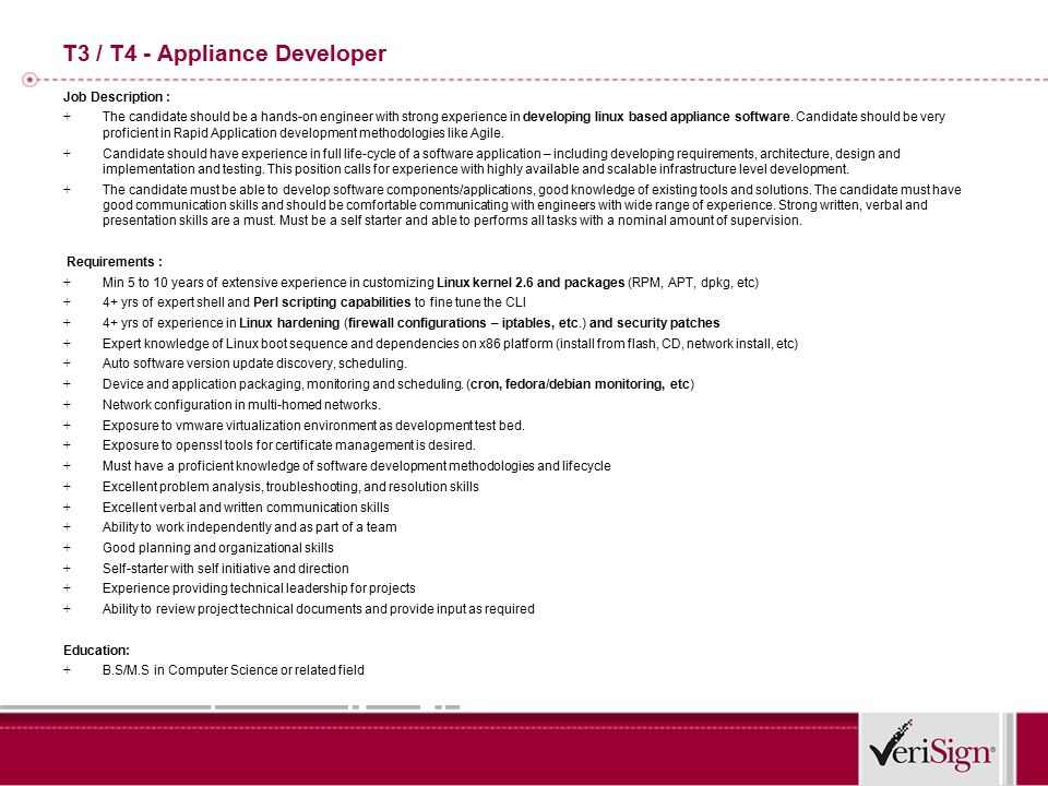 T4- Development Manager Job Description : + This position is for ...