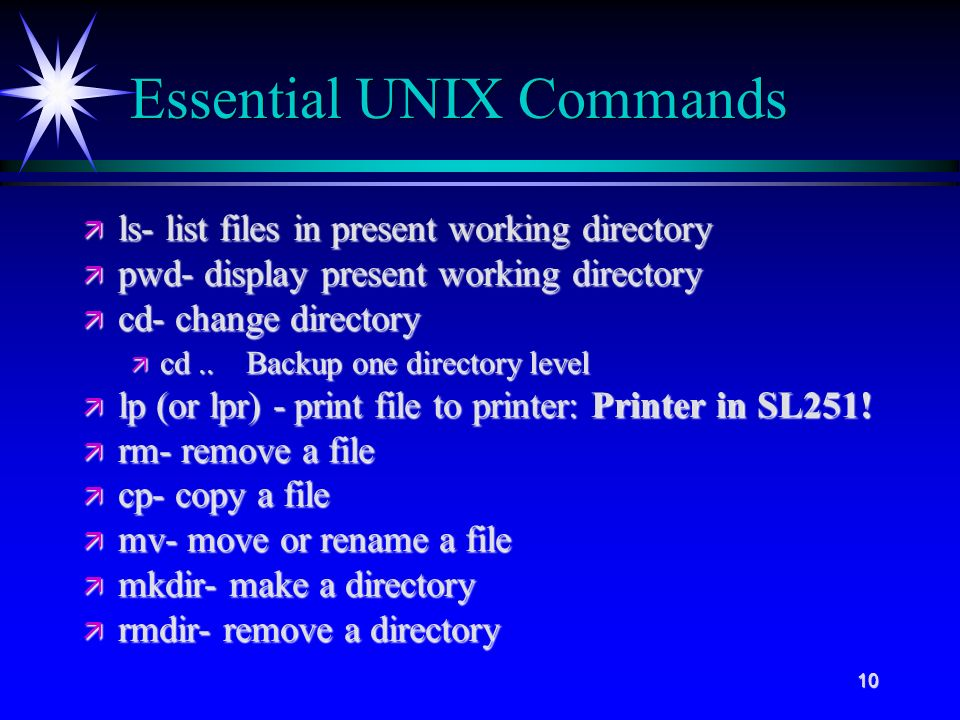 10 Essential UNIX Commands ä ls- list files in present working directory ä pwd- display present working directory ä cd- change directory ä cd..