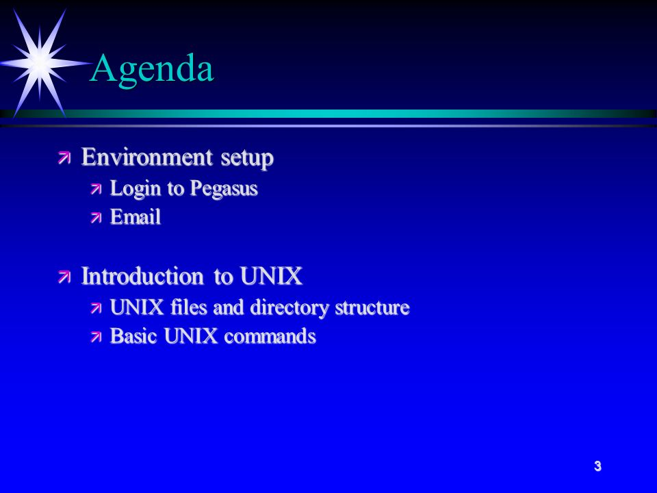 3 Agenda ä Environment setup ä Login to Pegasus ä  ä Introduction to UNIX ä UNIX files and directory structure ä Basic UNIX commands
