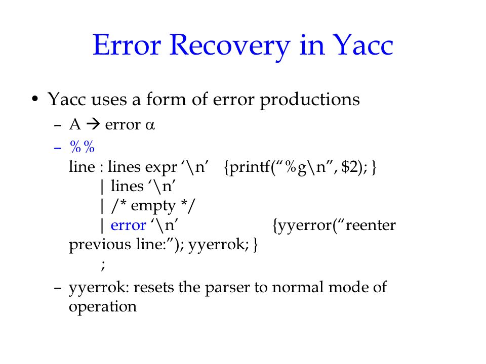 Using The Lalr Parser Generator Yacc By J H Wang May 10 Ppt
