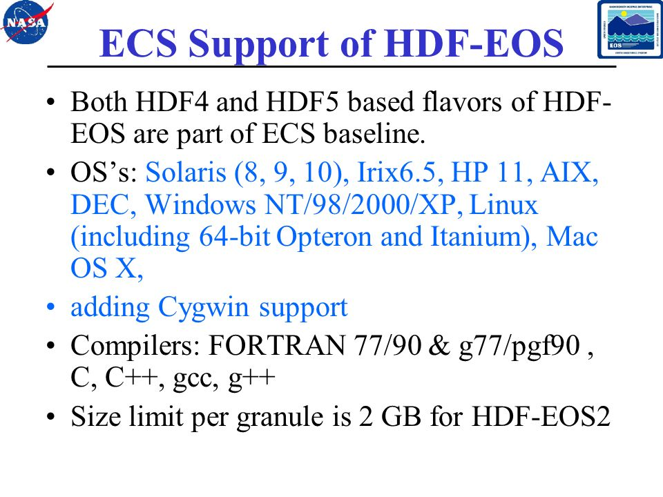 1 HDF-EOS Status and Development Larry Klein, Abe Taaheri, and Cid