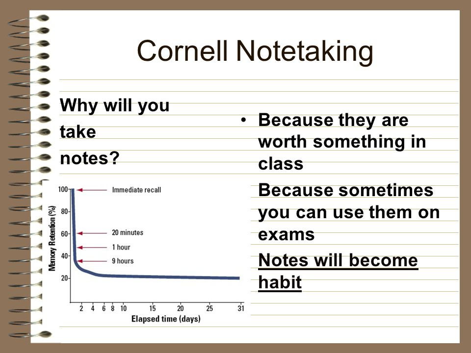 Cornell Notetaking Why will you take notes.