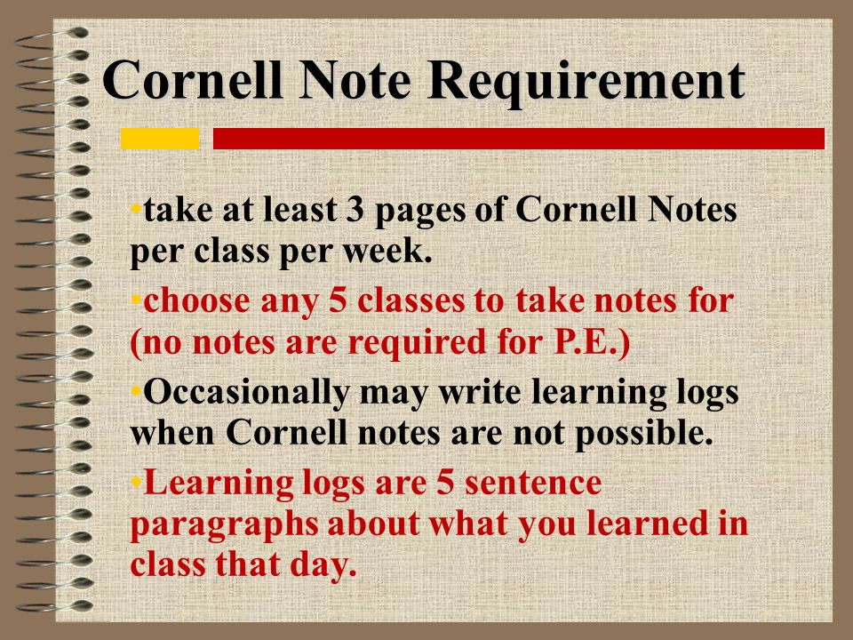 Cornell Note Requirement take at least 3 pages of Cornell Notes per class per week.