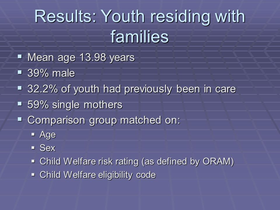 Results: Youth residing with families  Mean age years  39% male  32.2% of youth had previously been in care  59% single mothers  Comparison group matched on:  Age  Sex  Child Welfare risk rating (as defined by ORAM)  Child Welfare eligibility code