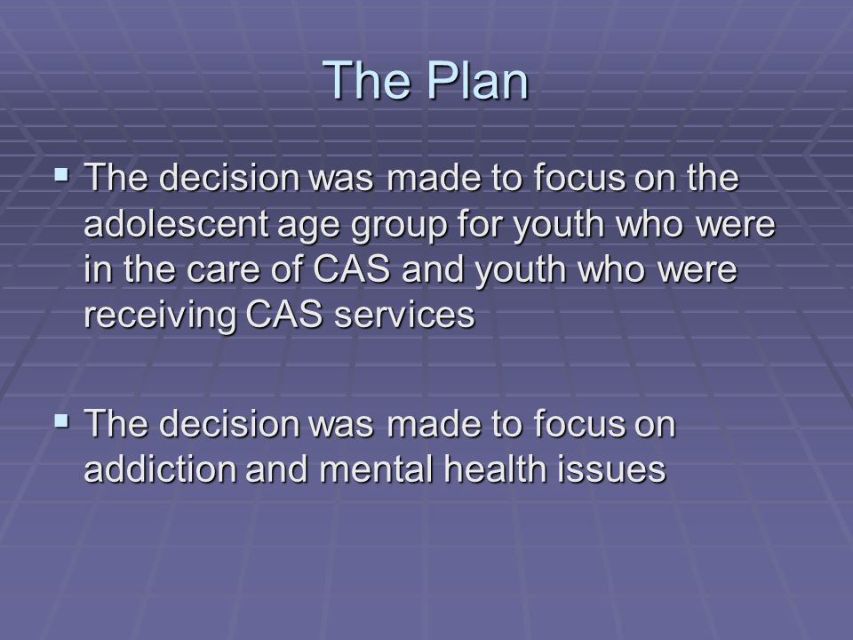 The Plan  The decision was made to focus on the adolescent age group for youth who were in the care of CAS and youth who were receiving CAS services  The decision was made to focus on addiction and mental health issues