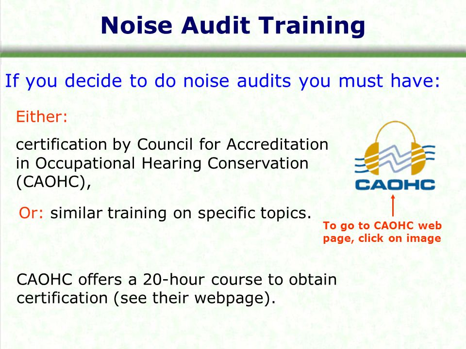 Noise Audits Introduction The 2003 Revised Hearing Loss Prevention
