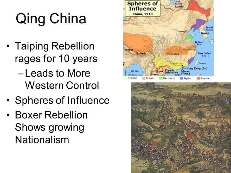 Qing China Taiping Rebellion rages for 10 years –Leads to More Western Control Spheres of Influence Boxer Rebellion Shows growing Nationalism