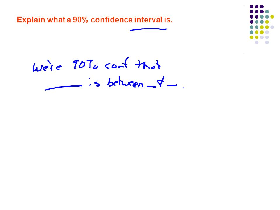 Explain what a 90% confidence interval is.