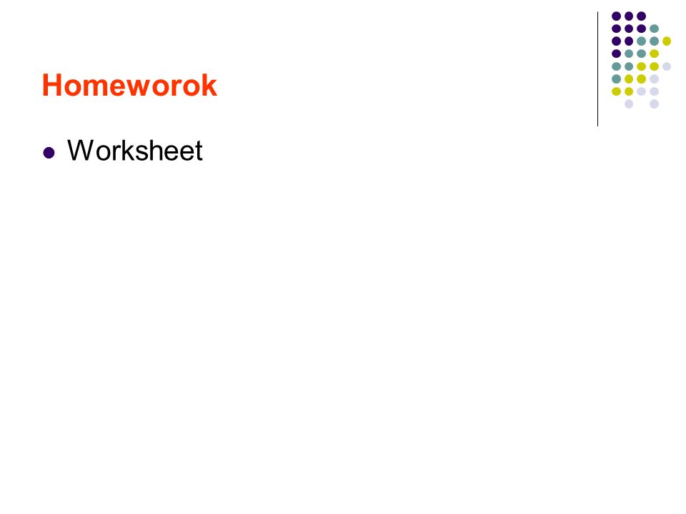 Homeworok Worksheet