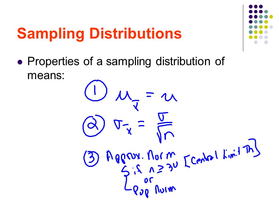 Sampling Distributions Properties of a sampling distribution of means: