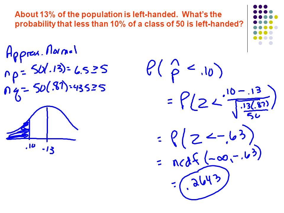 About 13% of the population is left-handed.