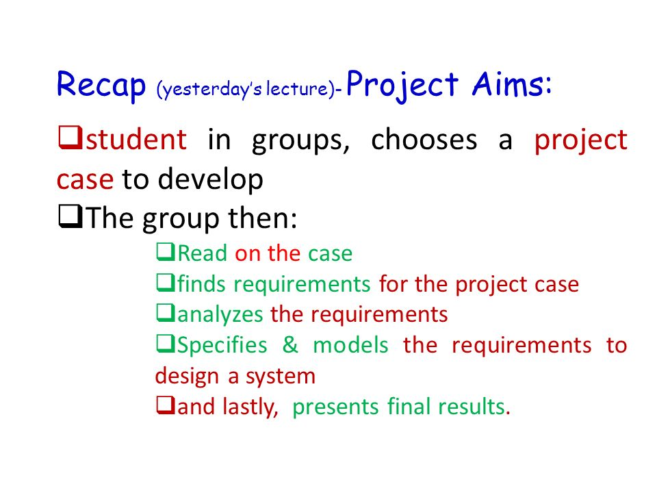 Project Analysis Course ( ) Course Overview Project ideas