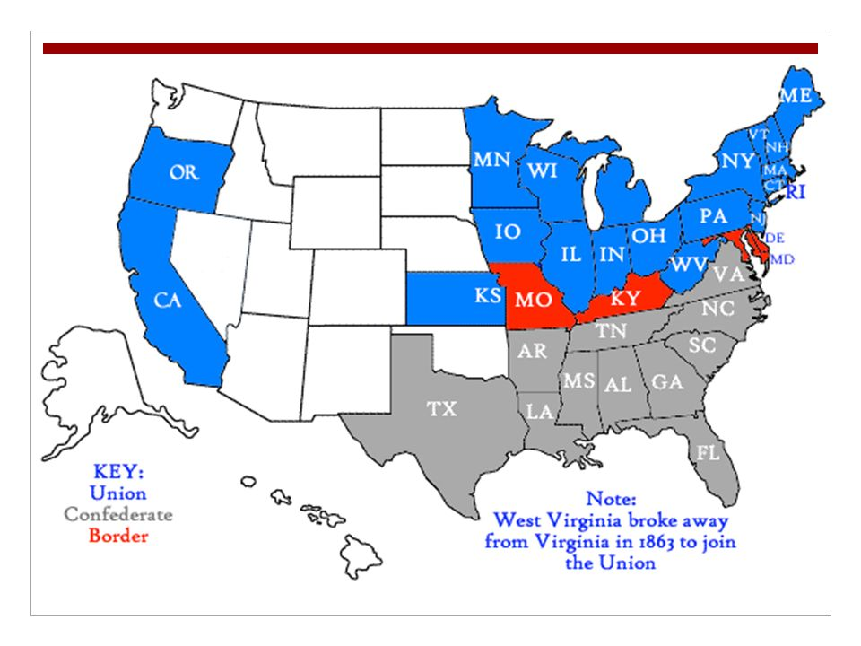Union & Confederacy Map - ppt video online download