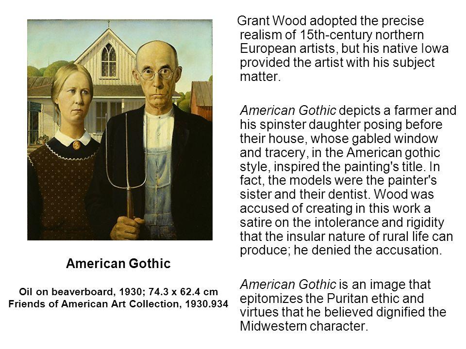 American Gothic Farmer Painting