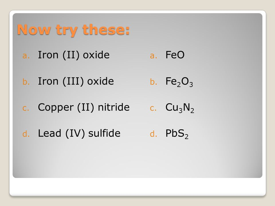 Ionic Nomenclature Multi-valent metals  What does