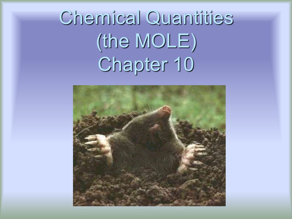 Chemical Quantities (the MOLE) Chapter 10