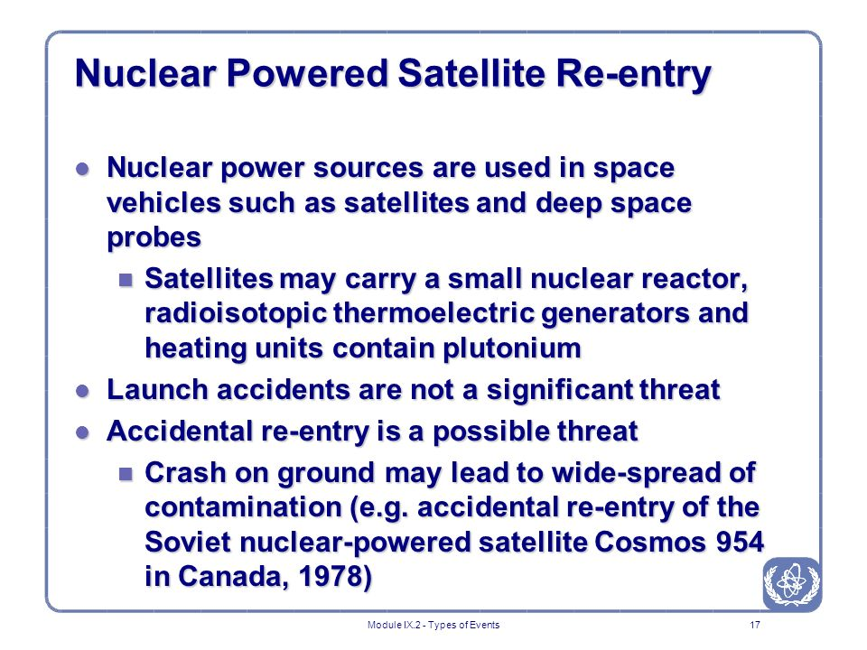 Emergency Exposure Situations Types of Events Nuclear and