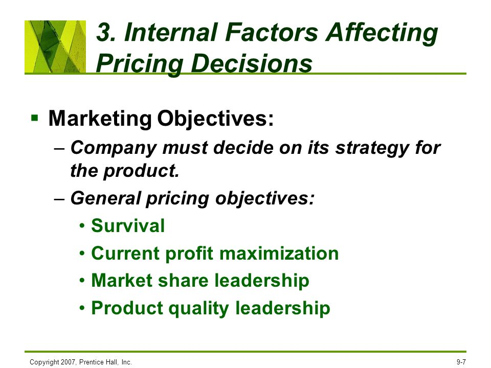 what are the factors affecting pricing decisions