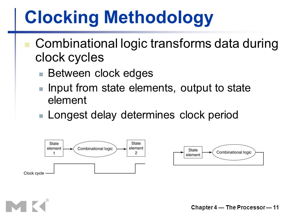 Chapter 4 — The Processor — 11 Clocking Methodology Combinational logic transforms data during clock cycles Between clock edges Input from state elements, output to state element Longest delay determines clock period