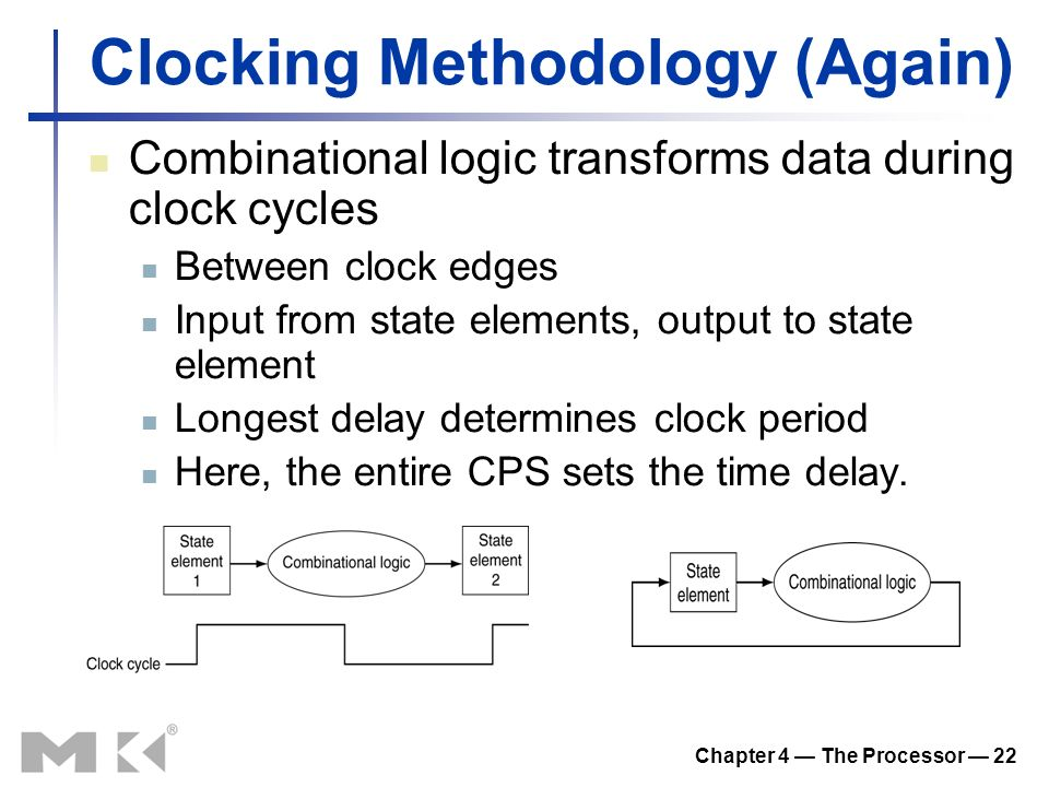 Chapter 4 — The Processor — 22 Clocking Methodology (Again) Combinational logic transforms data during clock cycles Between clock edges Input from state elements, output to state element Longest delay determines clock period Here, the entire CPS sets the time delay.