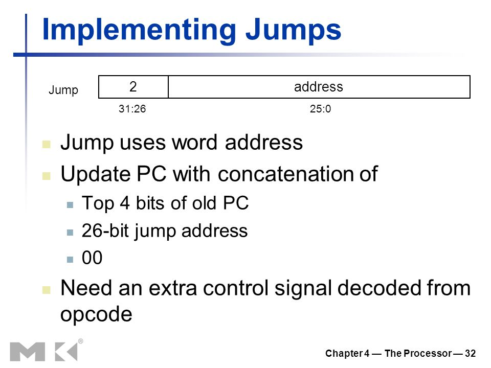 Chapter 4 — The Processor — 32 Implementing Jumps Jump uses word address Update PC with concatenation of Top 4 bits of old PC 26-bit jump address 00 Need an extra control signal decoded from opcode 2address 31:2625:0 Jump