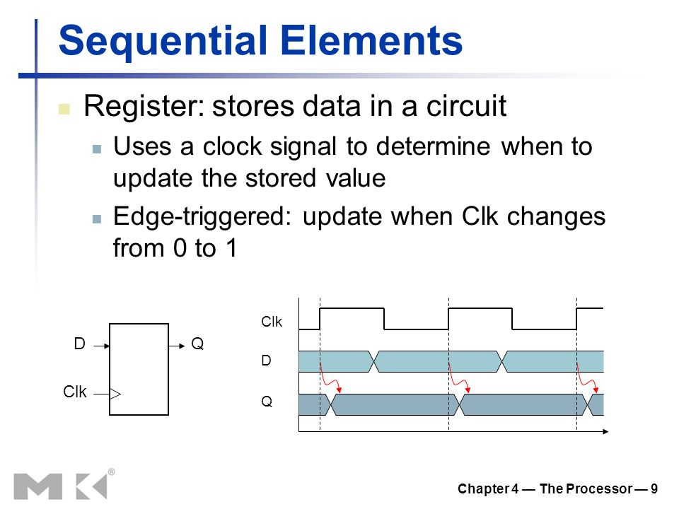 Chapter 4 — The Processor — 9 Sequential Elements Register: stores data in a circuit Uses a clock signal to determine when to update the stored value Edge-triggered: update when Clk changes from 0 to 1 D Clk Q D Q