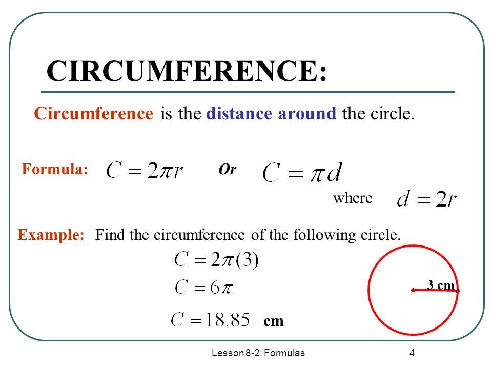 lesson 8 2 formulas 1 lesson 8 2 formulas circumference arc length