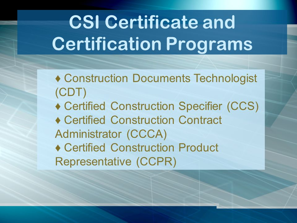 New Member Orientation Welcome To Csi Csi The Construction