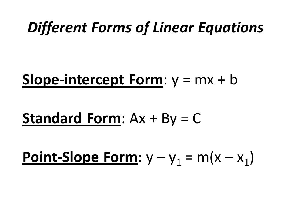 Algebra 2 Lesson 2 4 Writing Linear Equations Different Forms Of