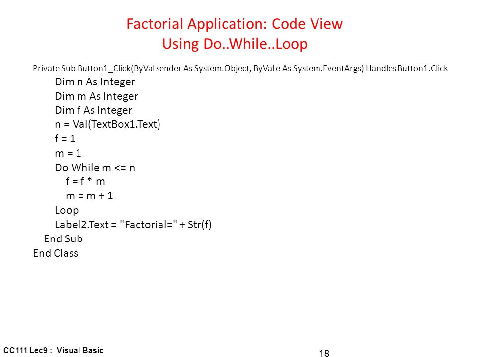 visual basic for loop