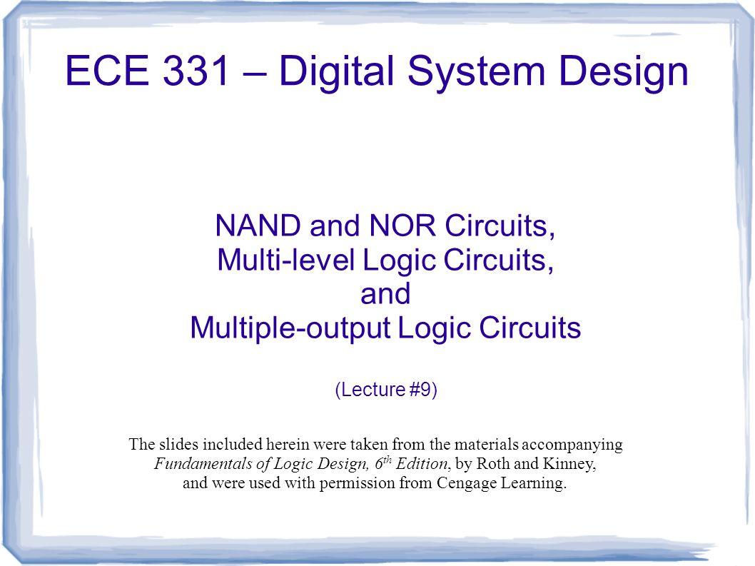 Ece 331 Digital System Design Nand And Nor Circuits Multi Level Logic Gates Circuit 1