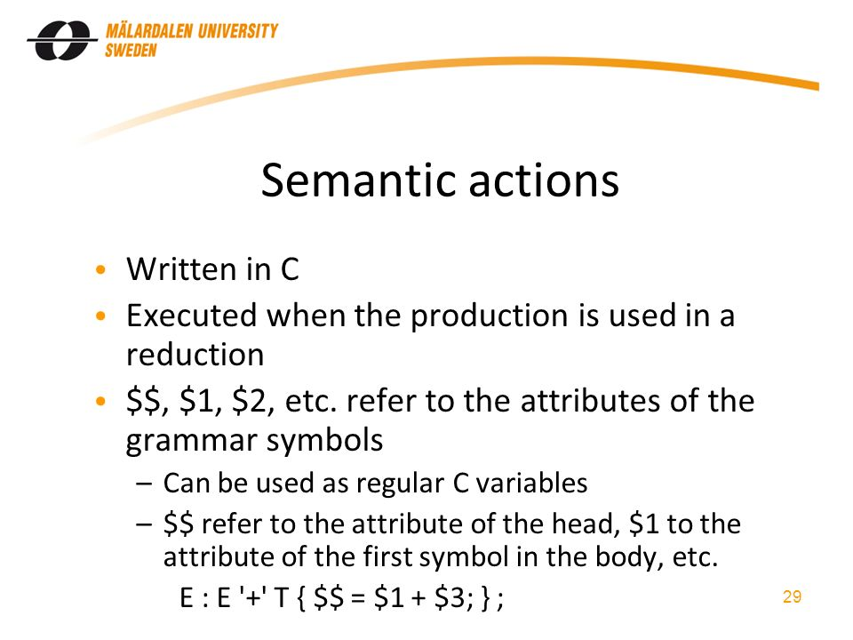 Semantic actions Written in C Executed when the production is used in a reduction $$, $1, $2, etc.