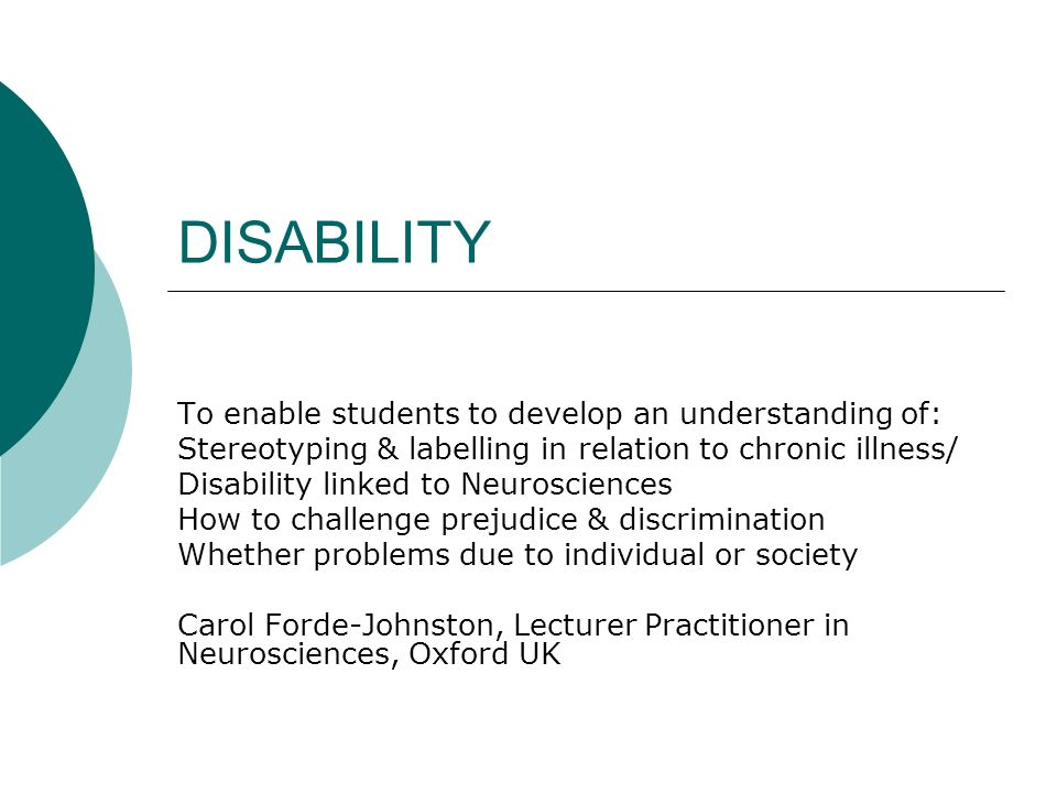 Disability To Enable Students To Develop An Understanding Of