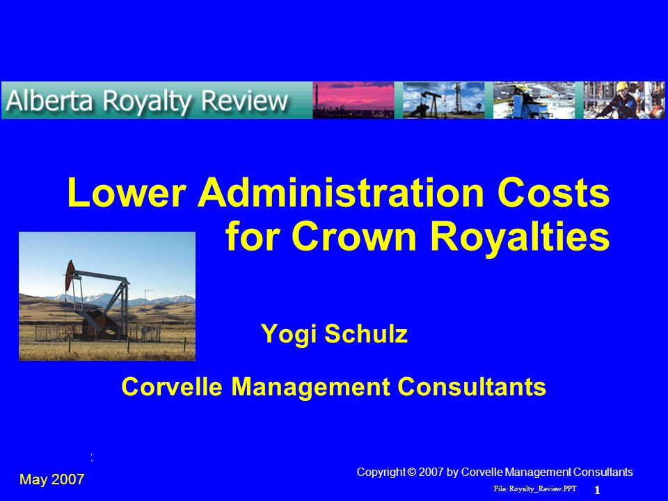 File: Royalty_Review PPT 1 Yogi Schulz Lower Administration Costs