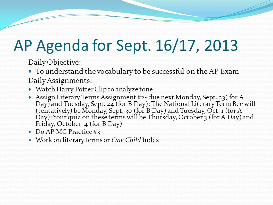 AP Agenda for Sept.