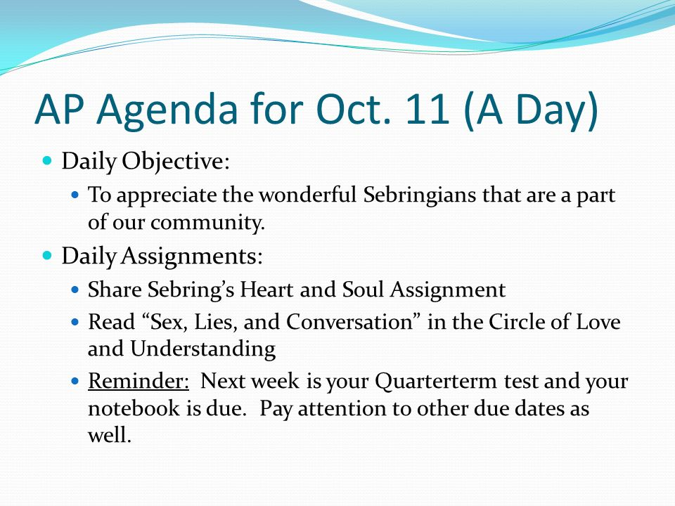 AP Agenda for Oct.