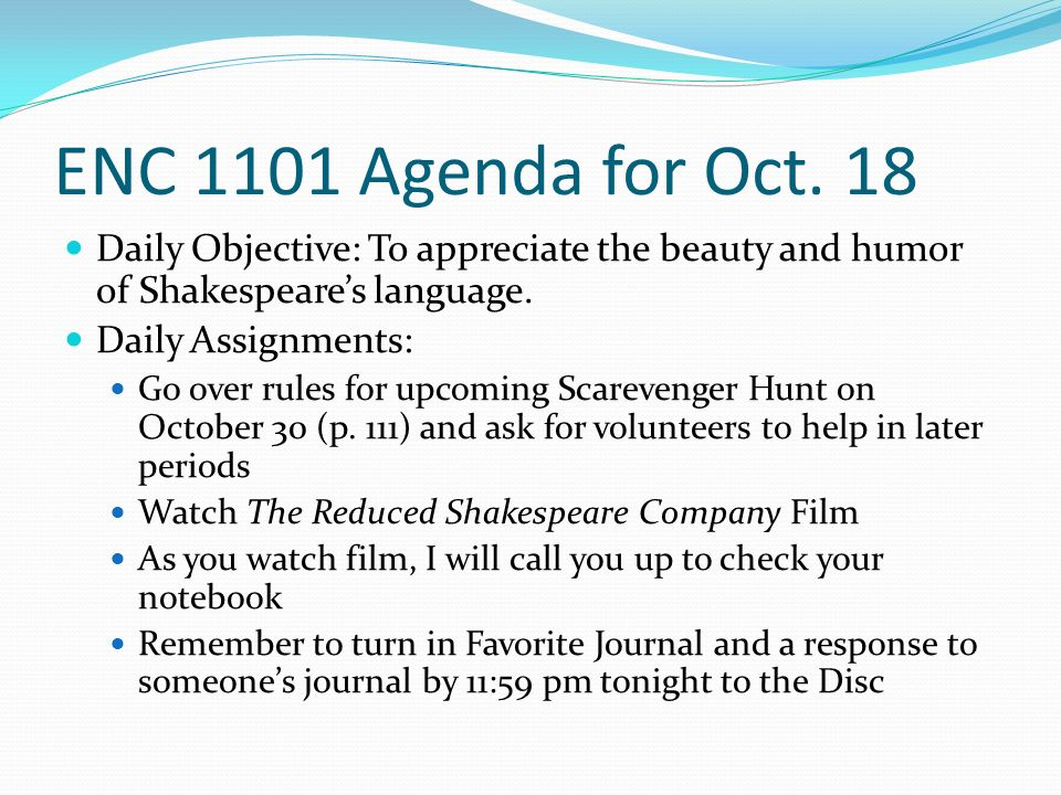 ENC 1101 Agenda for Oct.