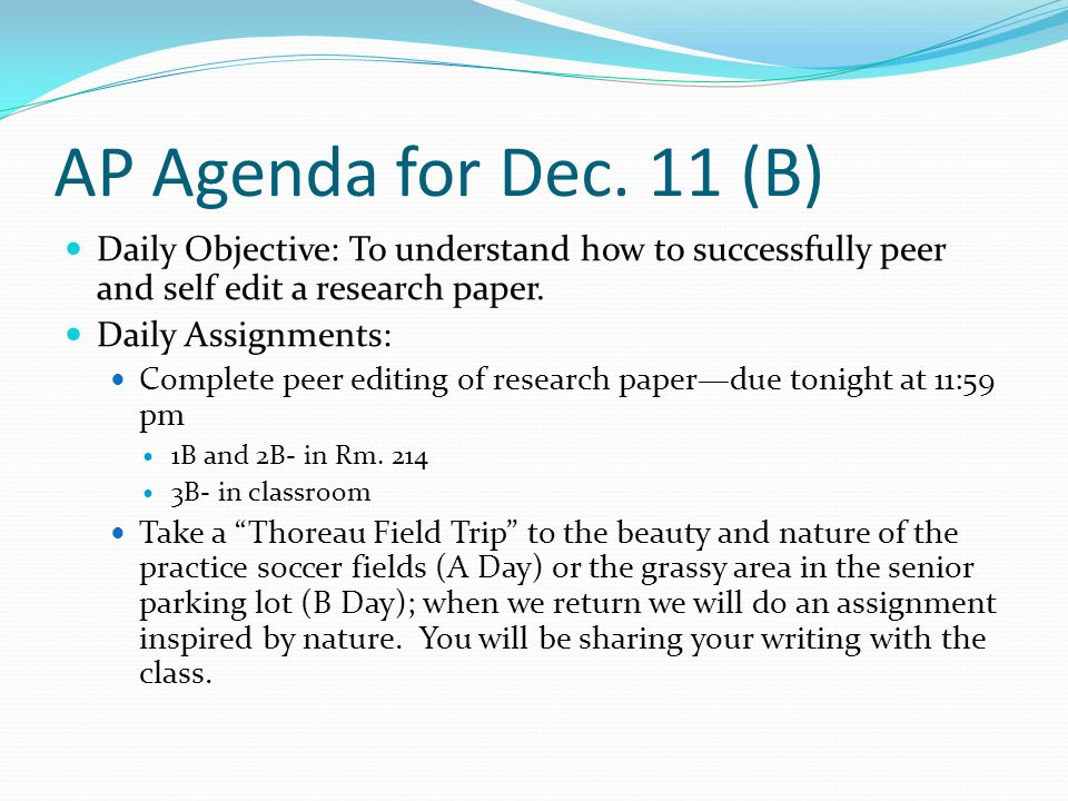 AP Agenda for Dec.