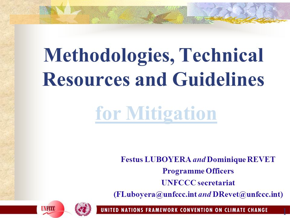 1 Methodologies, Technical Resources and Guidelines for Mitigation Festus LUBOYERA and Dominique REVET Programme Officers UNFCCC secretariat and