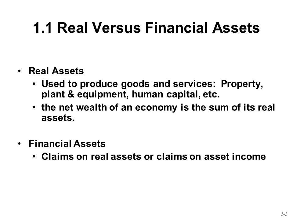 Chapter 1 Investments Background And Issues 1 1 Real Versus Financial Assets Real Assets Used To Produce Goods And Services Property Plant Equipment Ppt Download