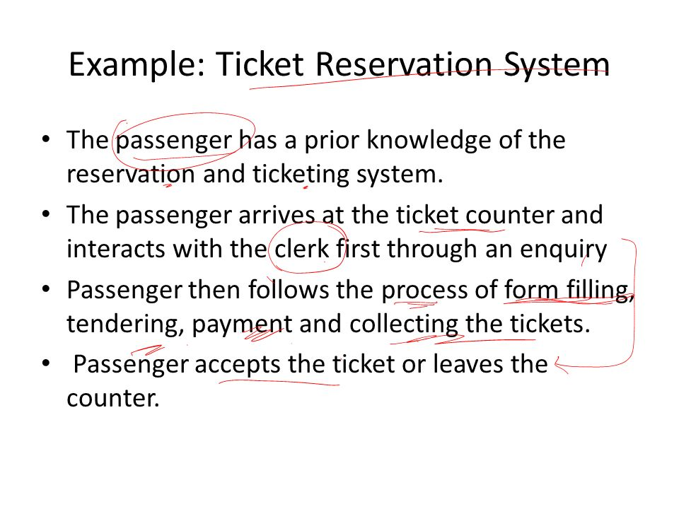 Example: Ticket Reservation System The passenger has a prior knowledge of the reservation and ticketing system.