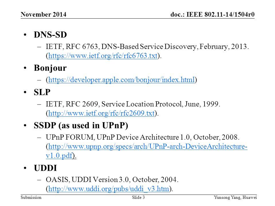 Doc : IEEE /1504r0 Submission November 2014 Yunsong Yang
