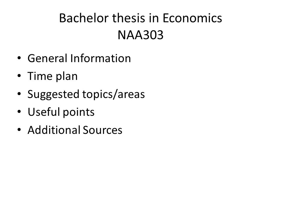 bachelor thesis economics