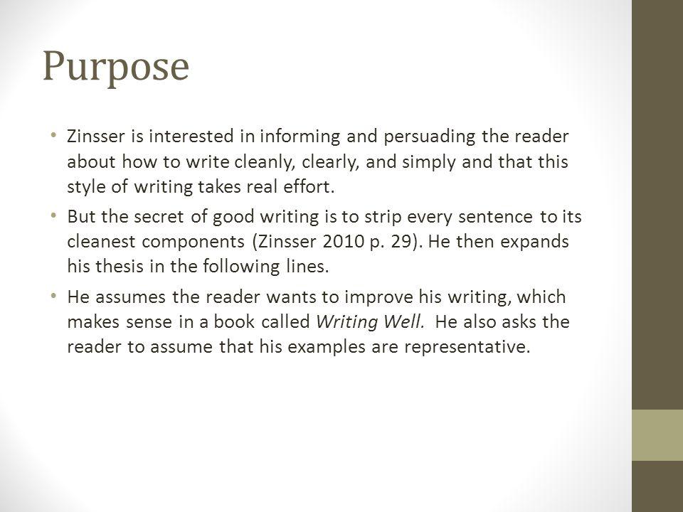 thesis statement simplicity william zinsser