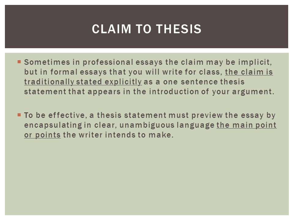 Claim To Thesis Types Of Evidence  Sometimes In Professional  Sometimes In Professional Essays The Claim May Be Implicit But In Formal  Essays That Order A Business Plan also English Essay Story  Doing Assignments Online
