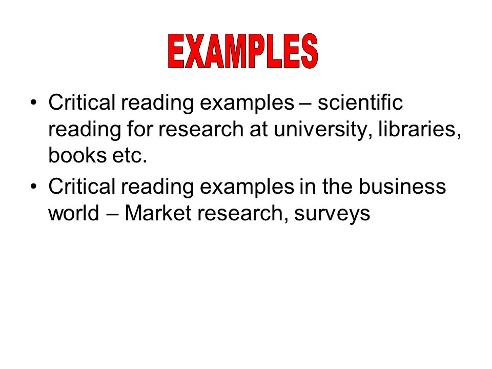critical reading examples